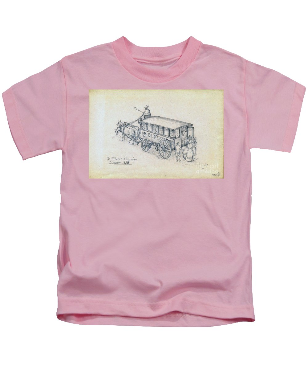 Bus Kids T-Shirt featuring the drawing Shillibeers Omnibus by John Chatterley