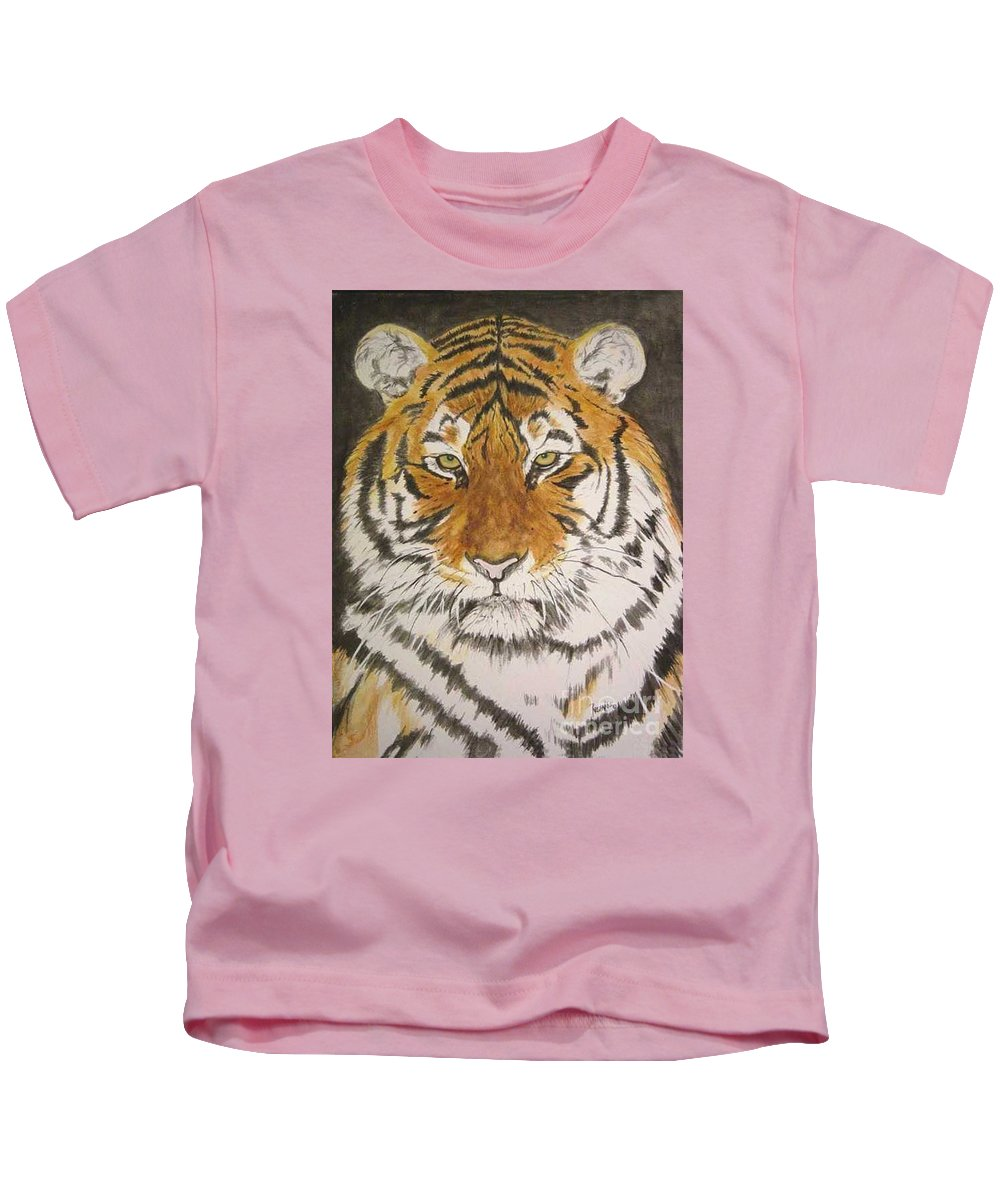 Siberian Tiger Kids T-Shirt featuring the painting Siberian Tiger by Regan J Smith