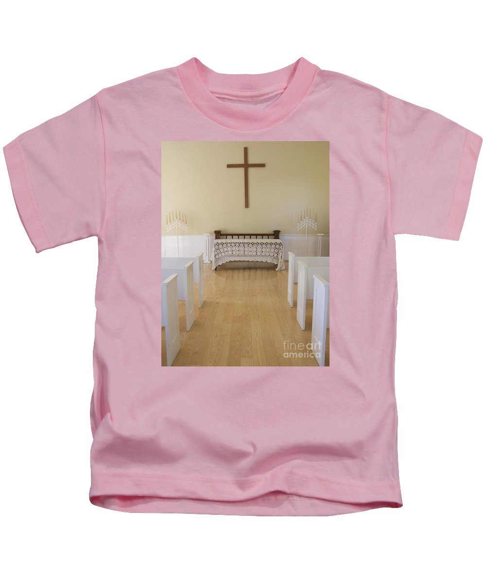 Chapel Kids T-Shirt featuring the photograph Simple Sunlit Chapel by Ann Horn