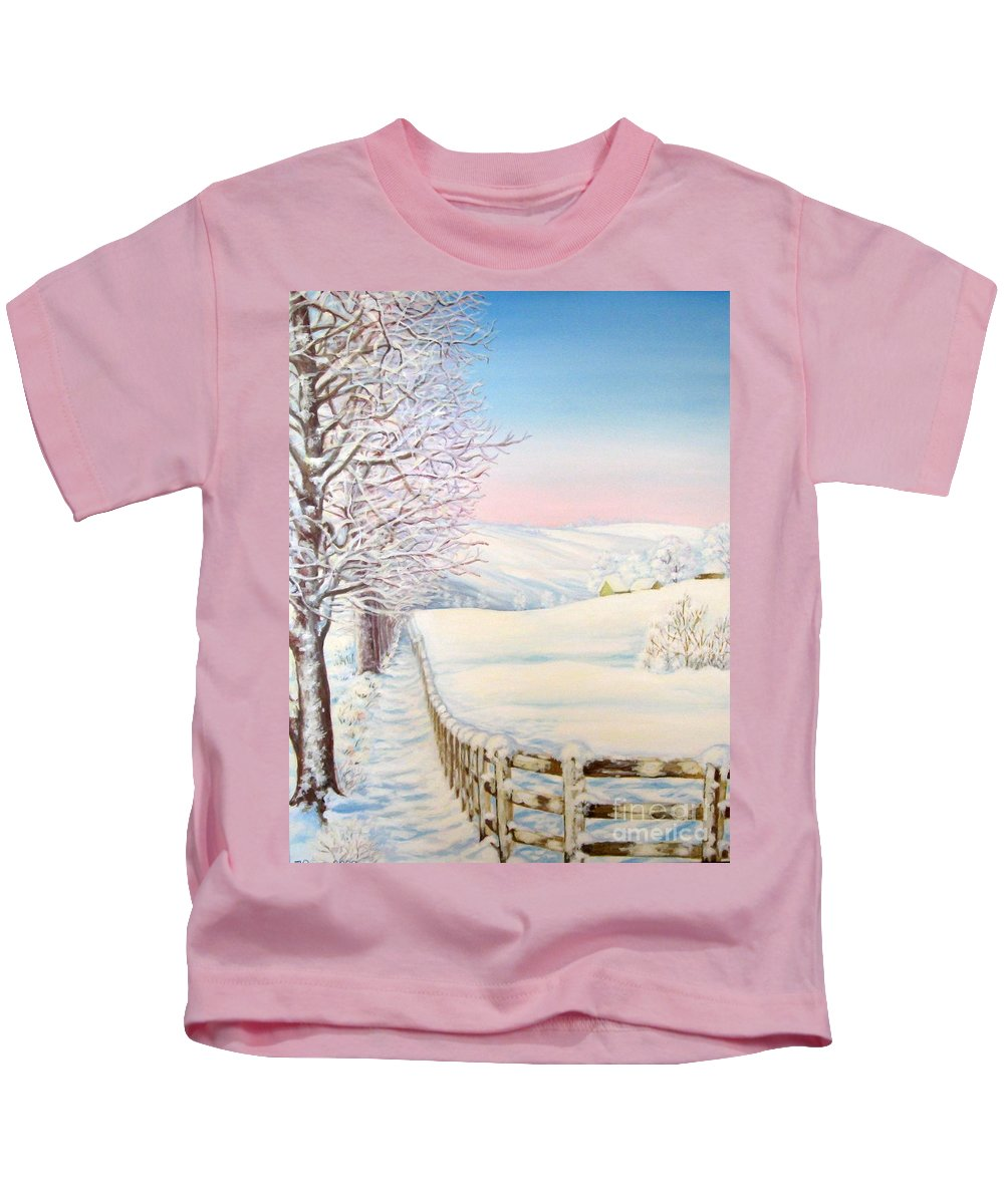 Winter Kids T-Shirt featuring the painting Snow Path by Inese Poga