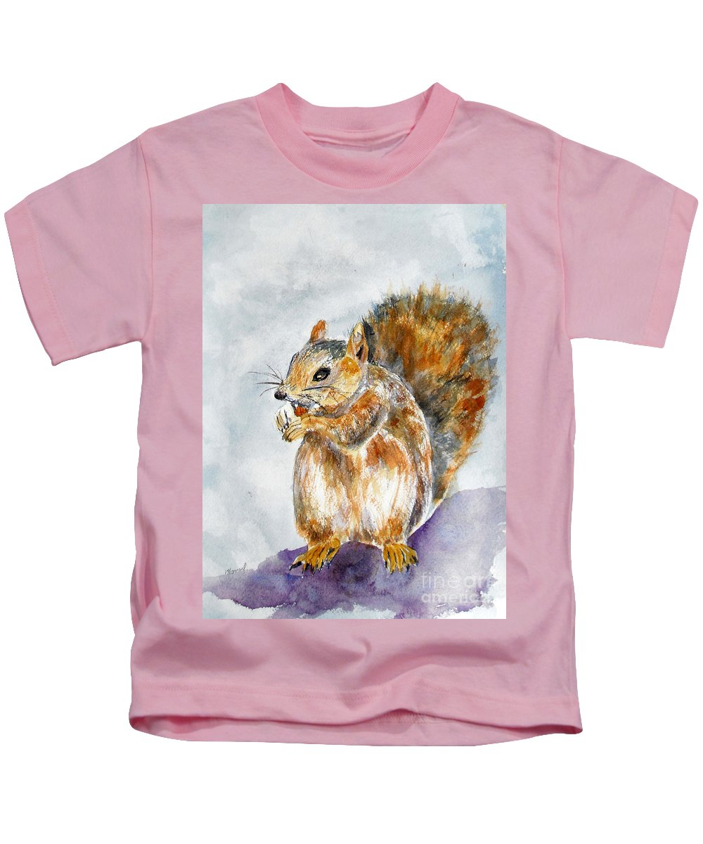 Squirrel Kids T-Shirt featuring the painting Squirrel With Nut by Vicki Housel
