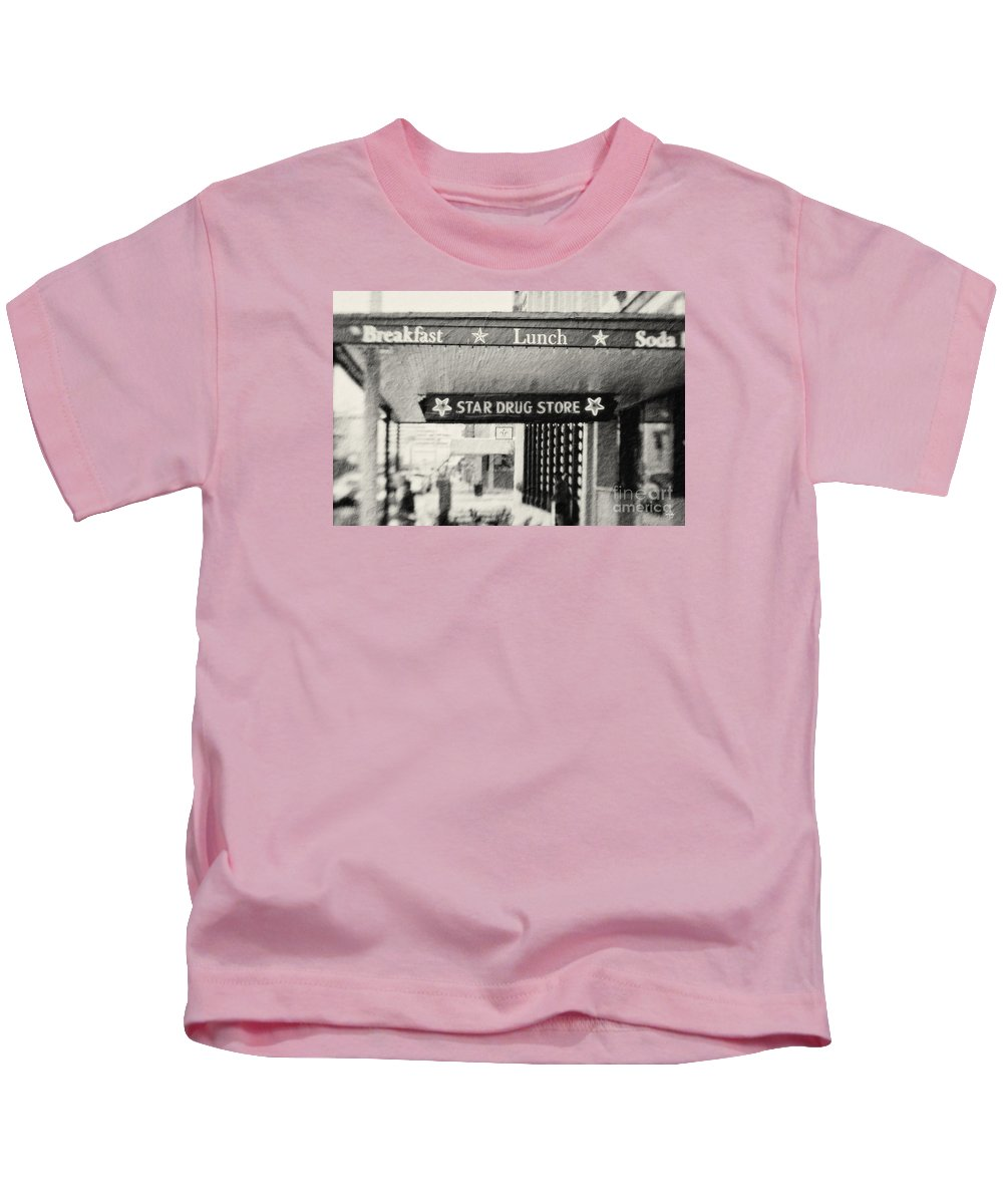Black&white Kids T-Shirt featuring the photograph Star Drug Store Marquee by Scott Pellegrin