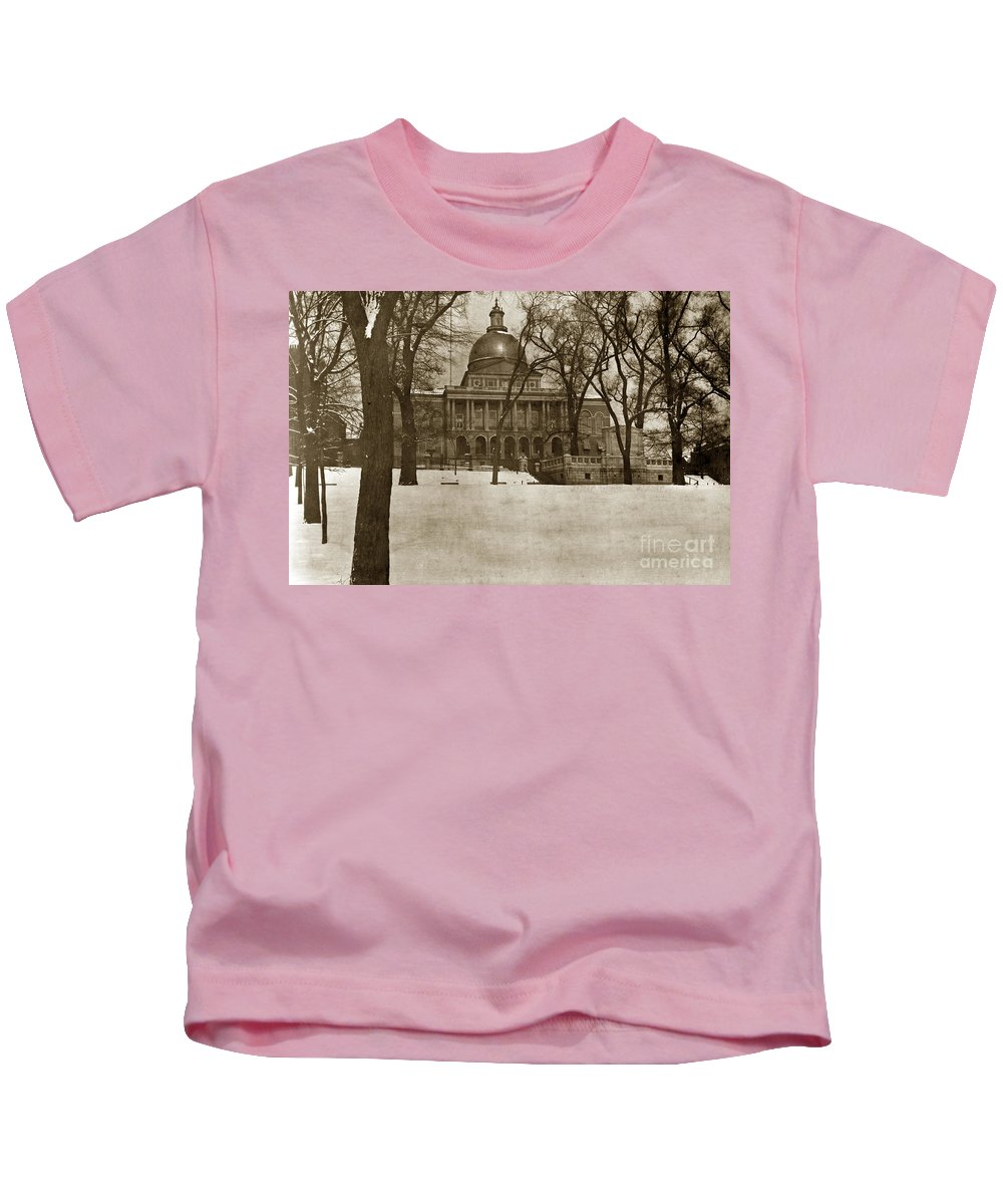 State Building Kids T-Shirt featuring the photograph State Building Boston Massachusetts Circa 1900 by California Views Archives Mr Pat Hathaway Archives