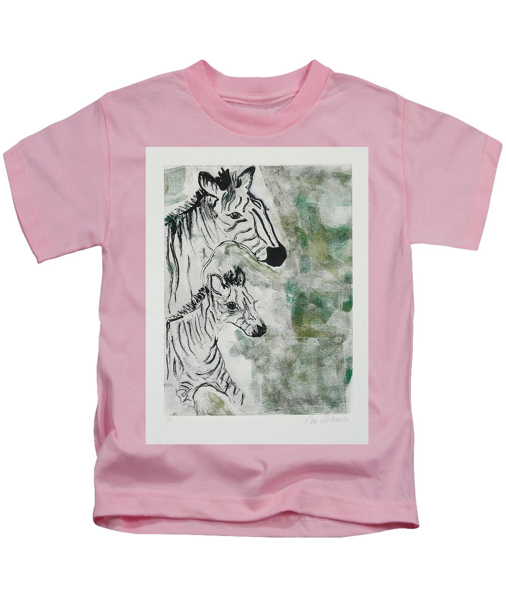Zebras Kids T-Shirt featuring the mixed media Striped Duet by Cori Solomon