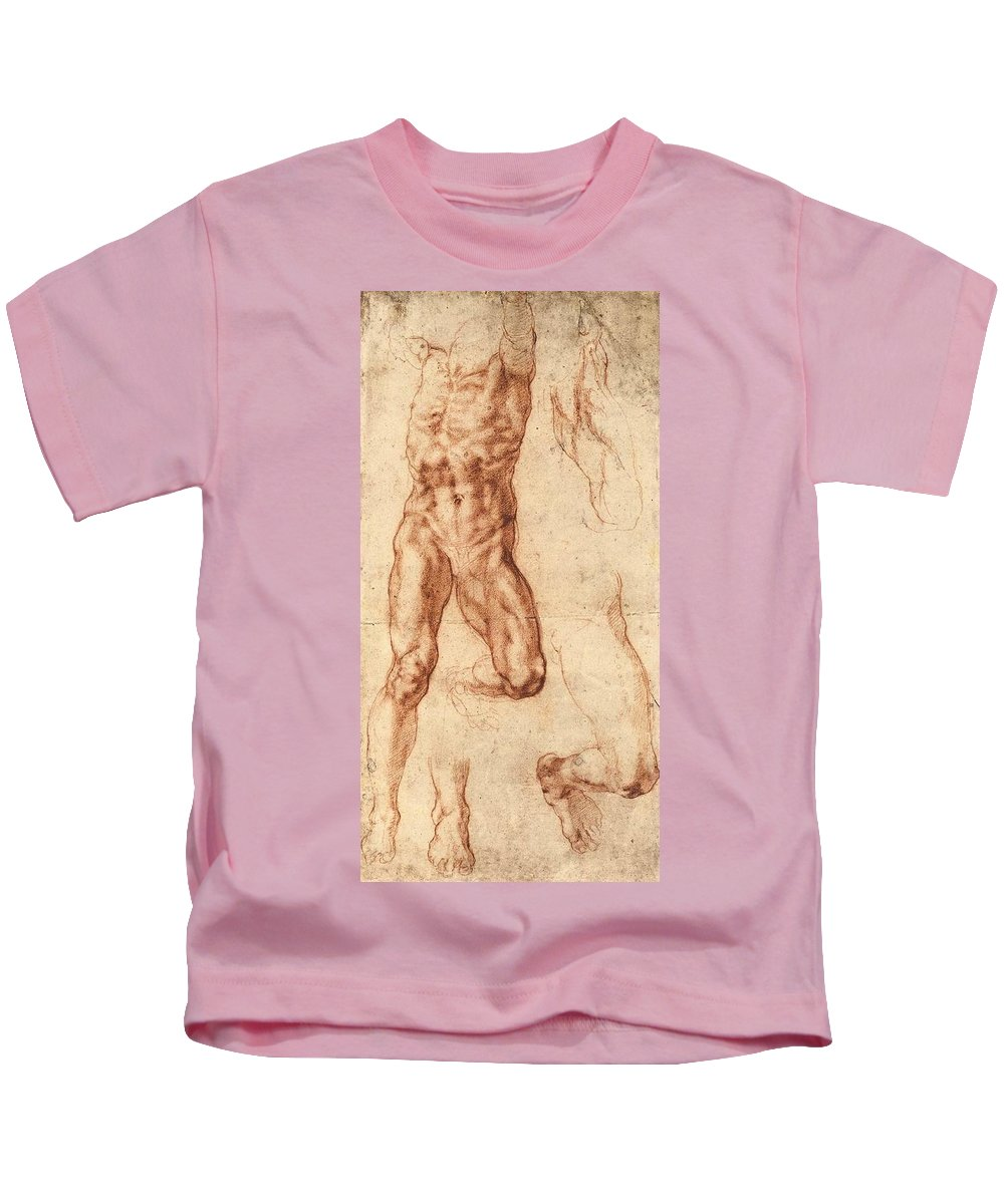 1511-1512 Kids T-Shirt featuring the painting Studies For Haman by Michelangelo Buonarroti