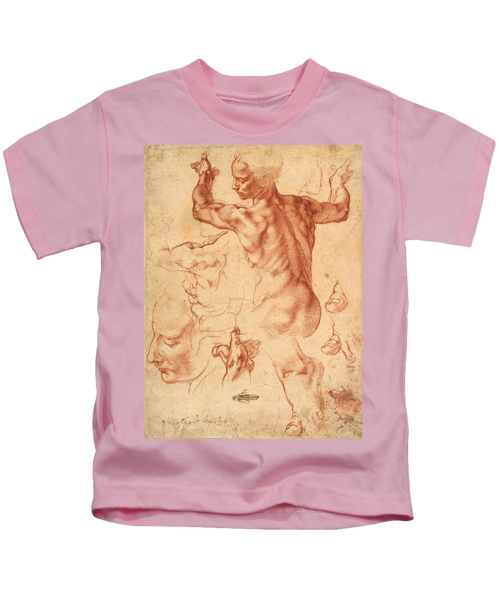 1510-1511 Kids T-Shirt featuring the painting Studies For The Libyan Sibyl by Michelangelo Buonarroti