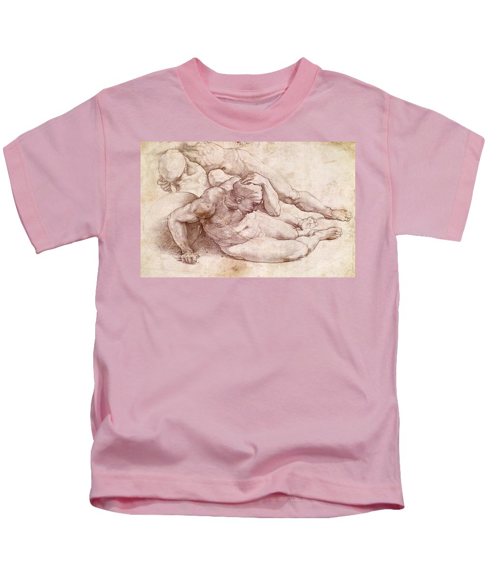 1530s Kids T-Shirt featuring the painting Study Of Three Male Figures by Michelangelo Buonarroti