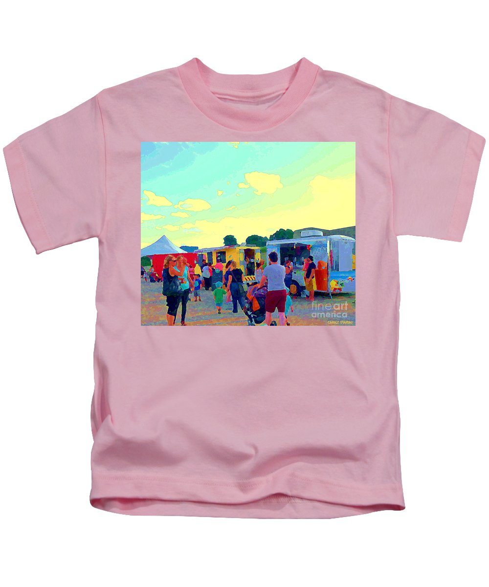 Food Truck Kids T-Shirt featuring the painting Summer Family Fun Paintings Of Food Truck Art Roadside Eateries Dad Mom And Little Boy Cspandau by Carole Spandau