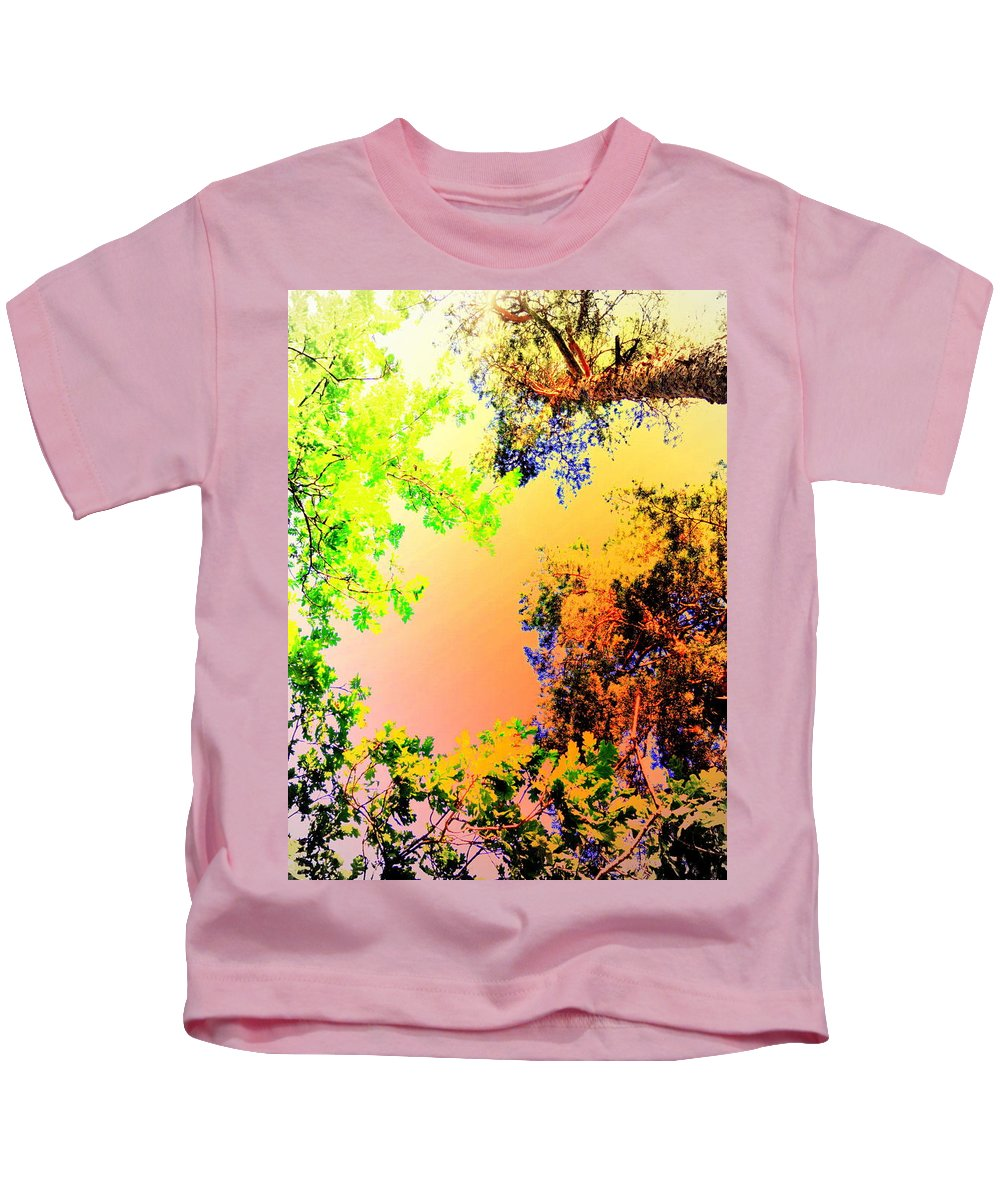 Trees Kids T-Shirt featuring the photograph Looking Right Up Into The High Summer Sky by Hilde Widerberg