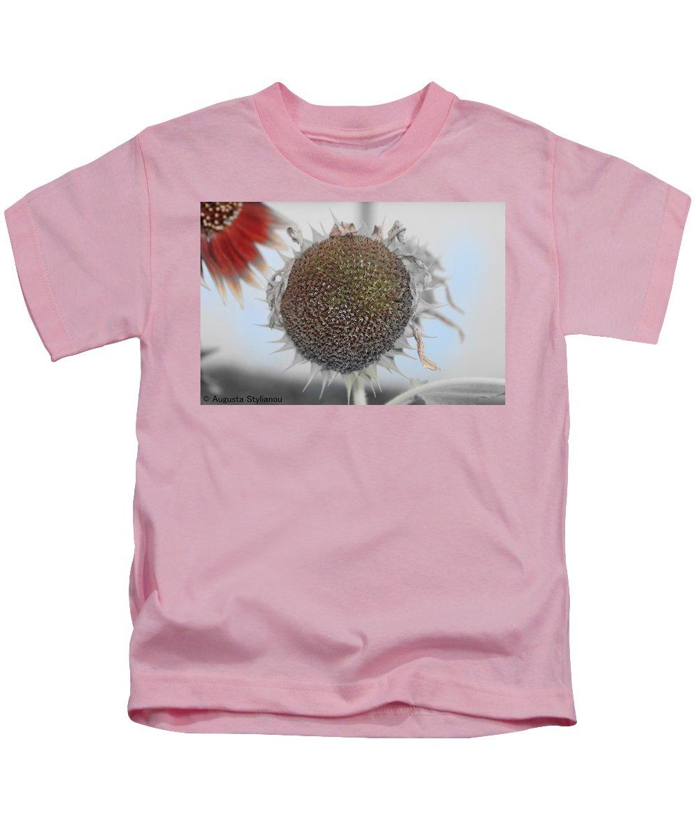Augusta Stylianou Kids T-Shirt featuring the photograph Sunflower Core by Augusta Stylianou