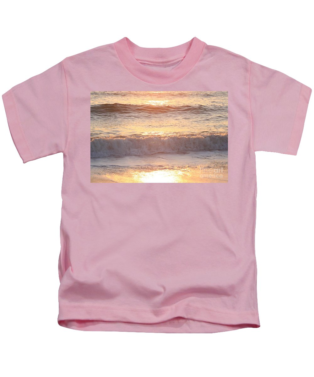 Waves Kids T-Shirt featuring the photograph Sunrise Waves by Nadine Rippelmeyer