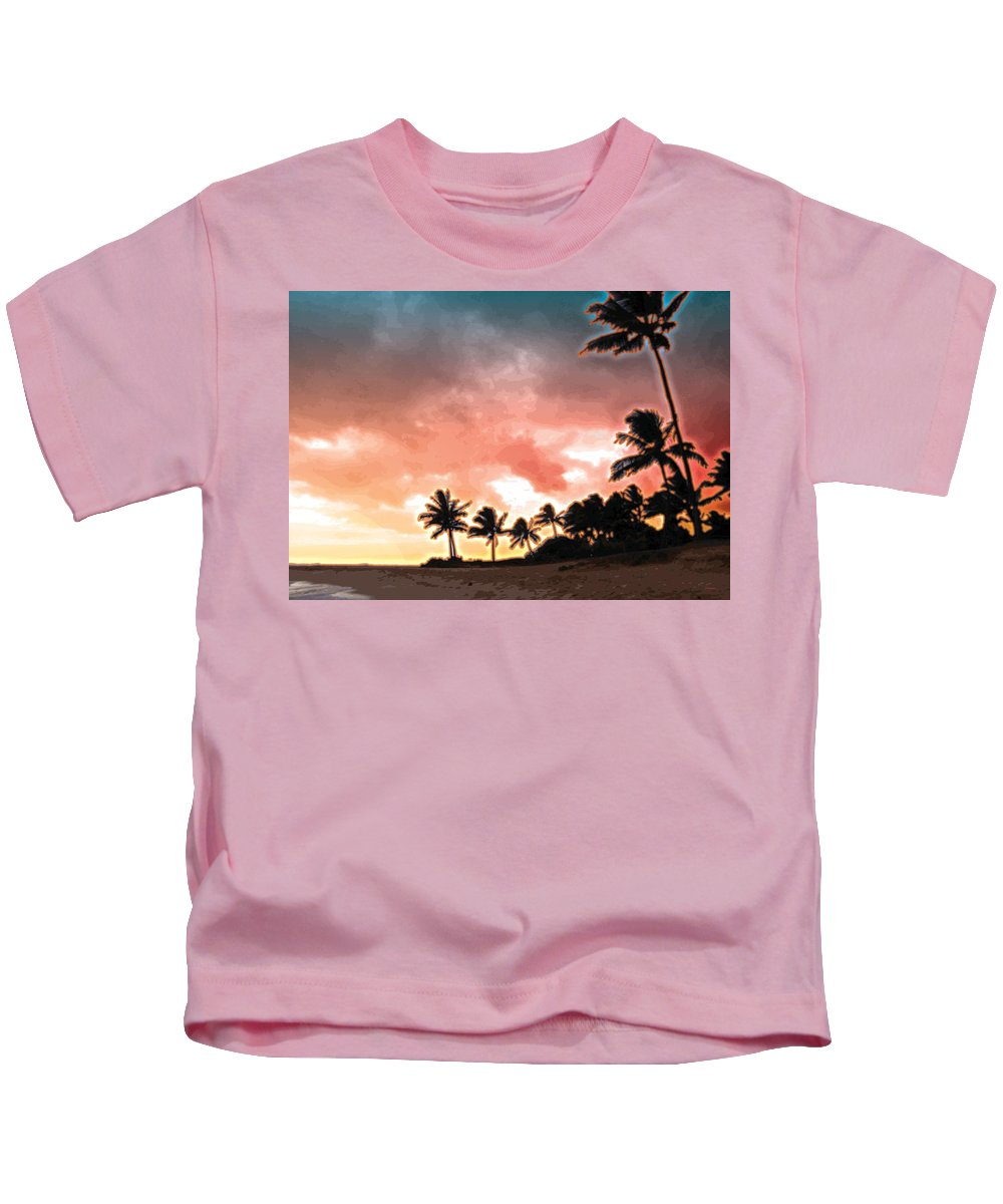 Abstract Kids T-Shirt featuring the digital art Sunset Beach by James Kramer