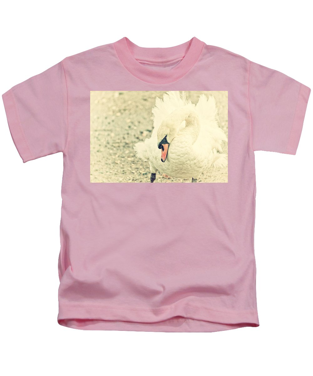 Swan Kids T-Shirt featuring the photograph Swanny by Karol Livote