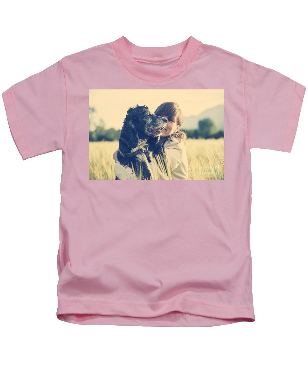Woman Kids T-Shirt featuring the photograph Tenderness by Mats Silvan
