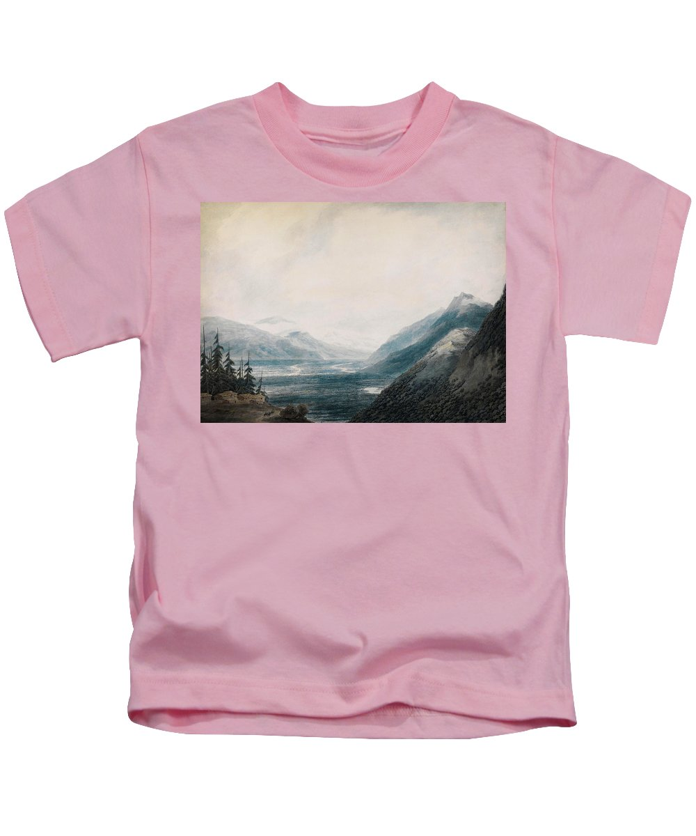 John Robert Cozens The Approach To Martigny Kids T-Shirt featuring the painting The Approach To Martigny Rhone Valley Valais by Celestial Images