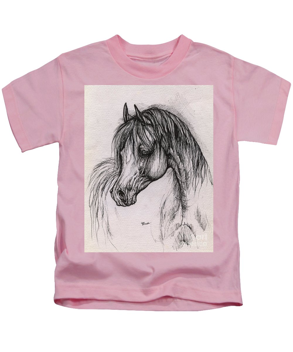 Arabian Horse Kids T-Shirt featuring the drawing The Arabian Horse With Thick Mane by Angel Ciesniarska