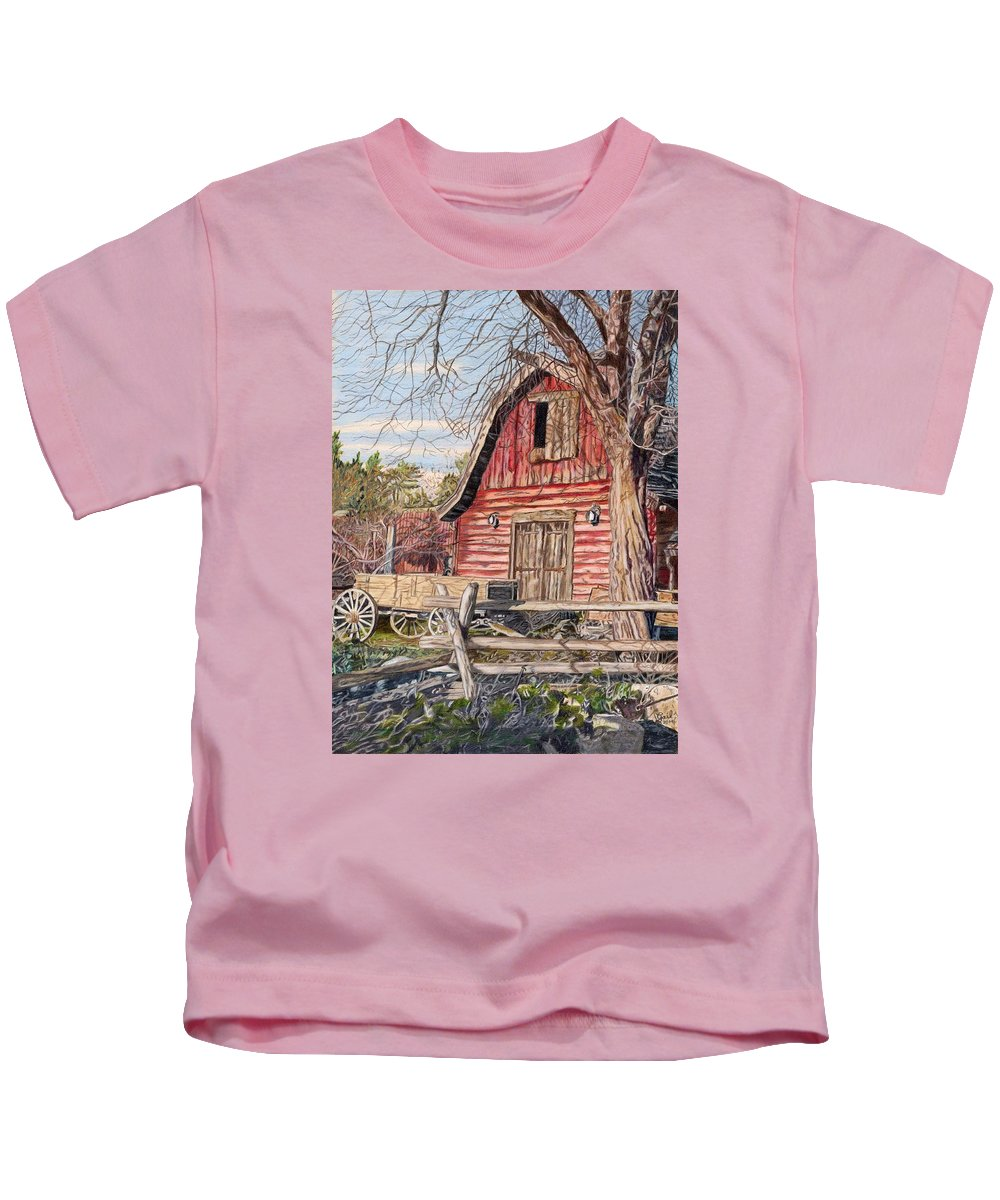 Barn Kids T-Shirt featuring the painting The Big Red Barn by Gail Seufferlein