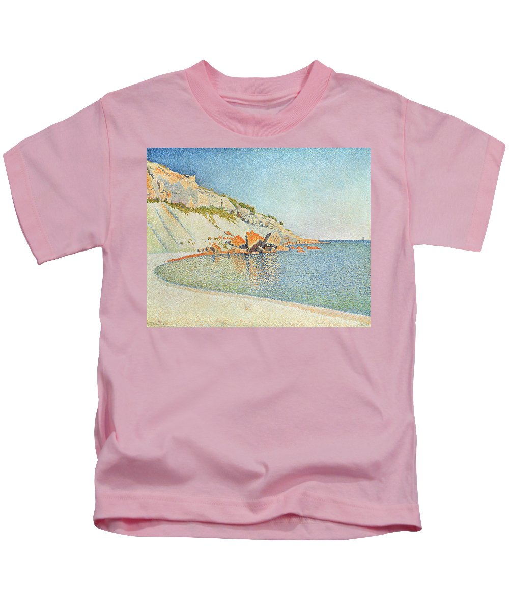 Pointillist Kids T-Shirt featuring the painting The Cote D Azur by Paul Signac