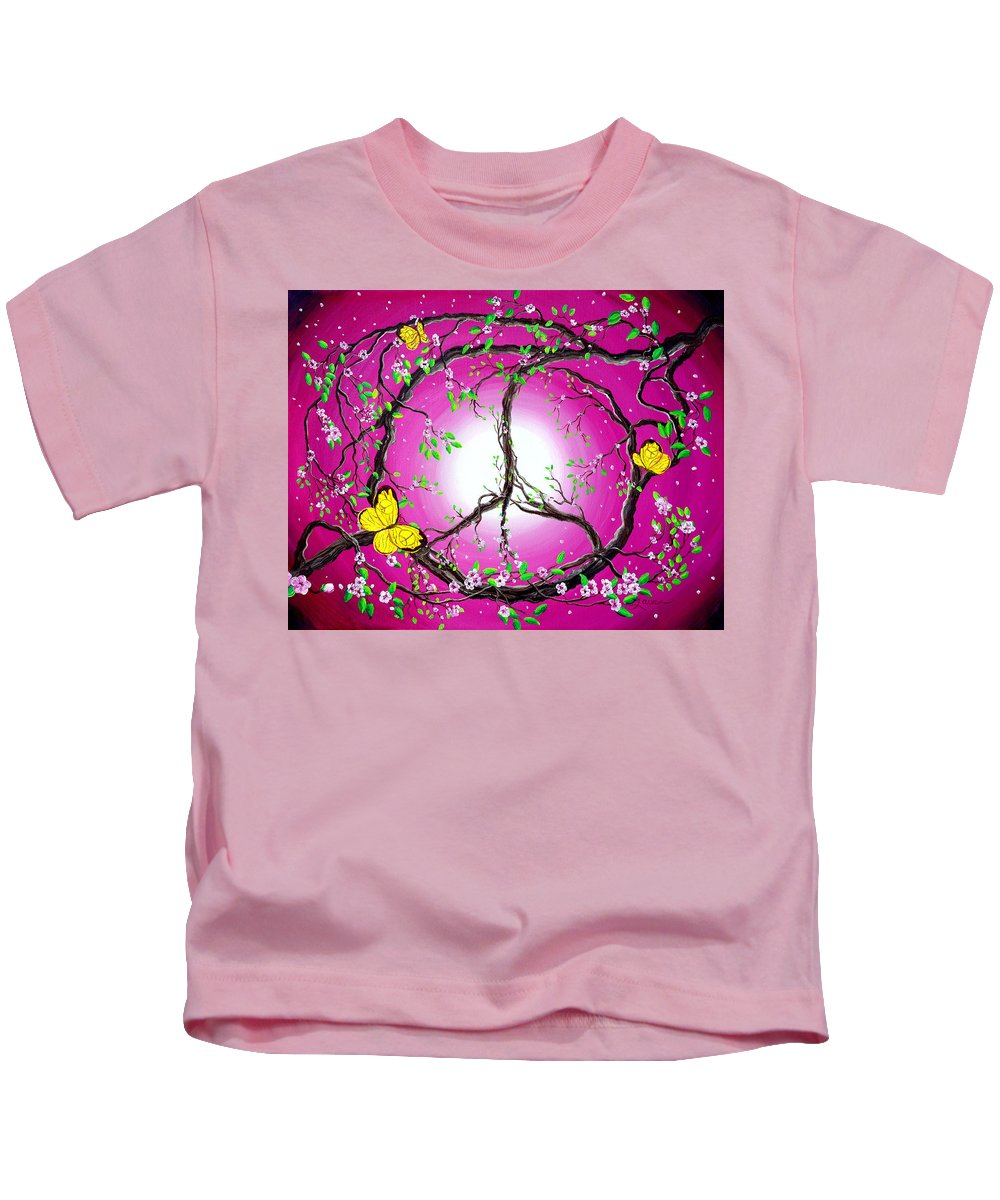 Zen Kids T-Shirt featuring the painting The Dawn Of Peace by Laura Iverson