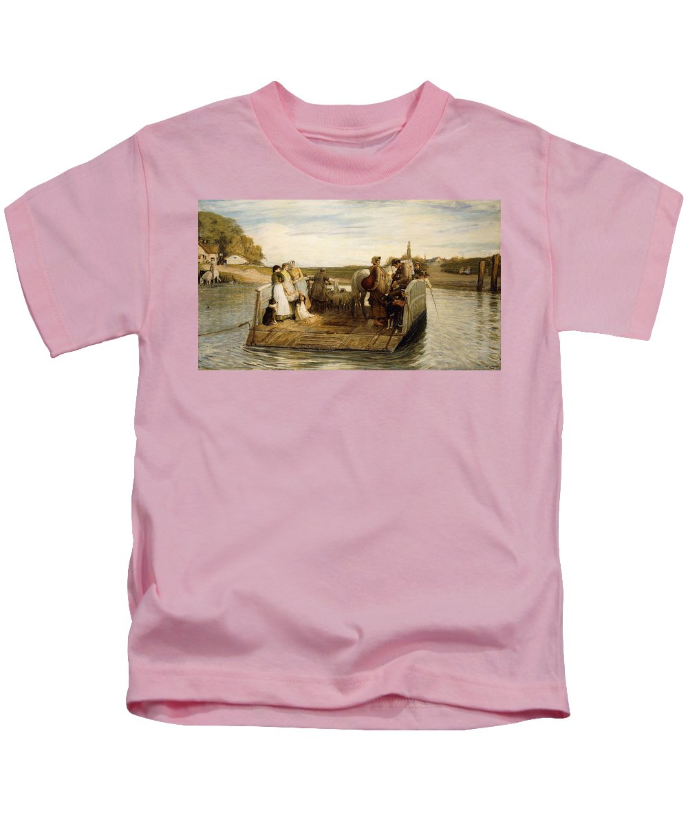 Animal Kids T-Shirt featuring the painting The Ferry by Robert Walker Macbeth