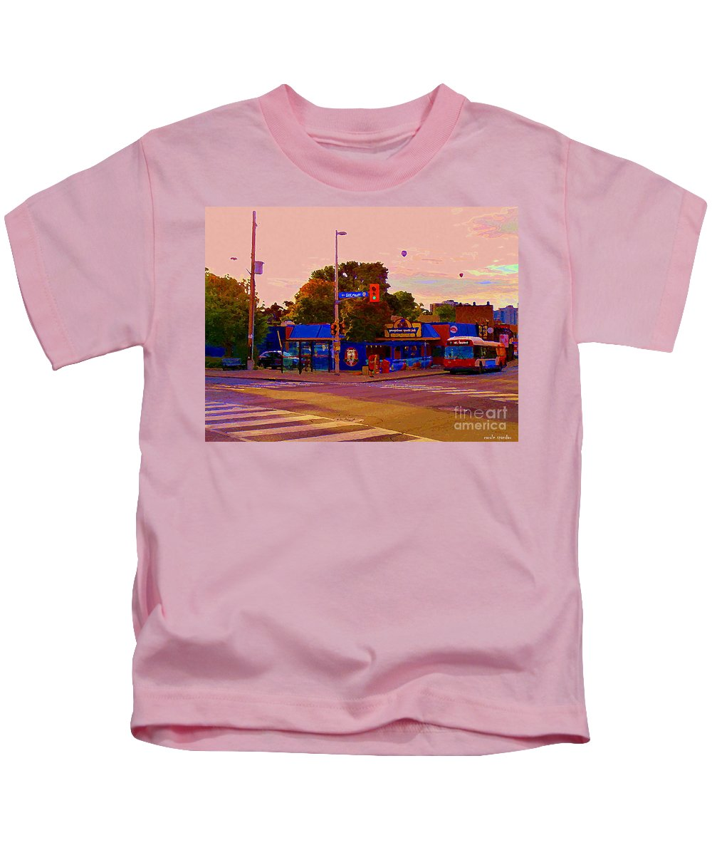 Kids T-Shirt featuring the painting The Georgetown Sports Pub Soccer Bar Bank St The Glebe Paintings Of Ottawa Carole Spandau Artist by Carole Spandau