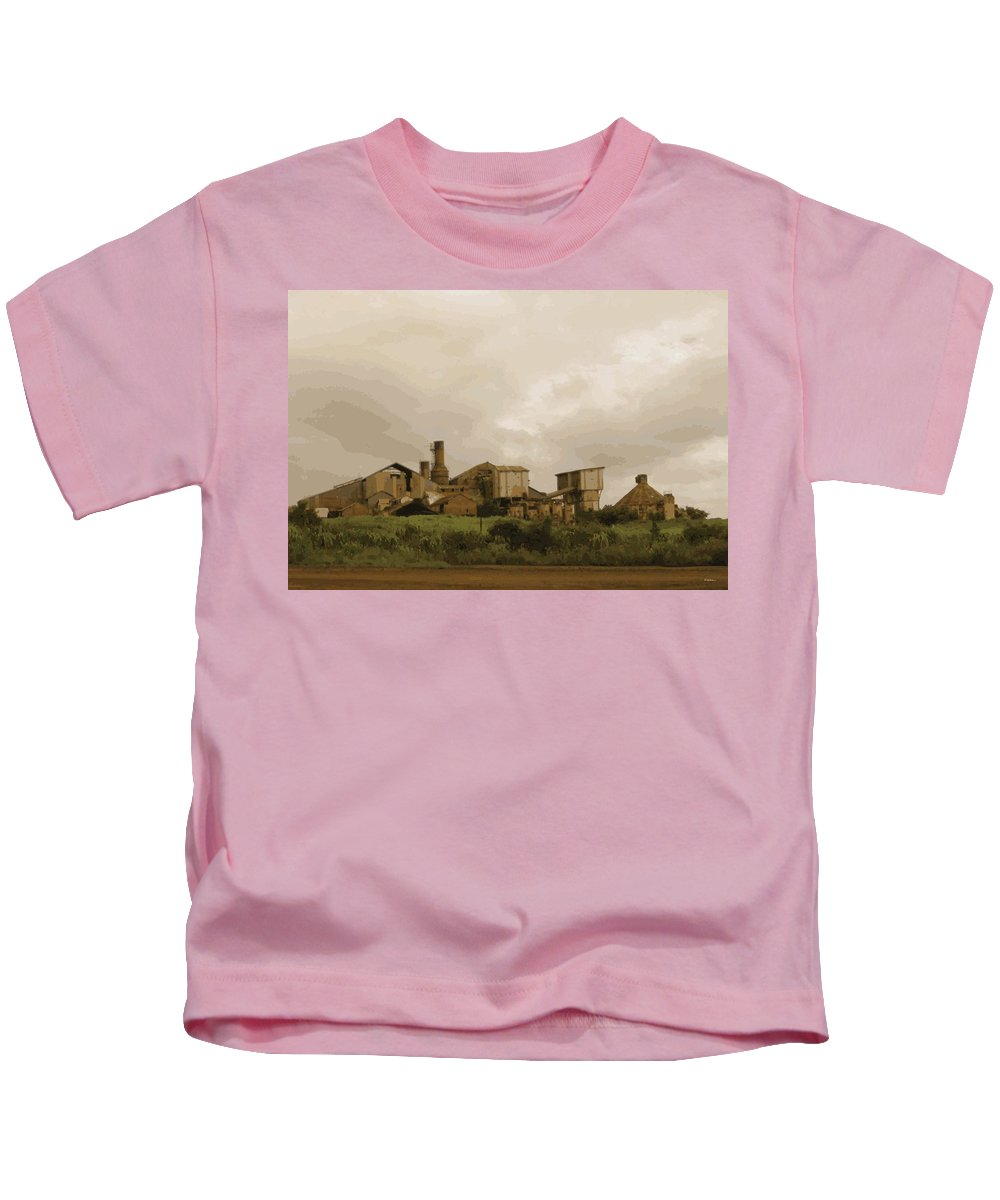Abstract Kids T-Shirt featuring the digital art The Old Sugar Mill At Koloa by James Kramer