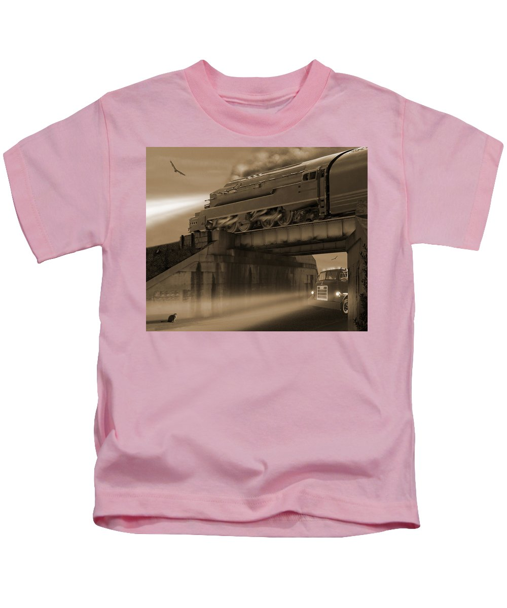 Transportation Kids T-Shirt featuring the photograph The Overpass 2 by Mike McGlothlen