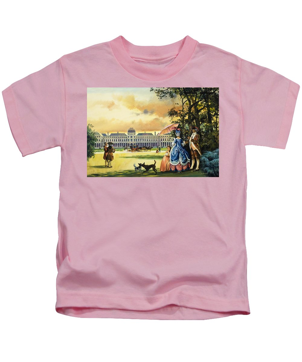 Place De La Concorde Kids T-Shirt featuring the painting The Palace Of The Tuileries by Andrew Howat
