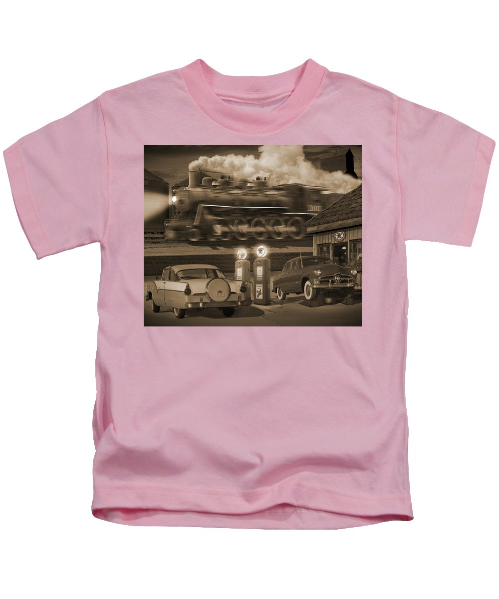 Transportation Kids T-Shirt featuring the photograph The Pumps 2 by Mike McGlothlen