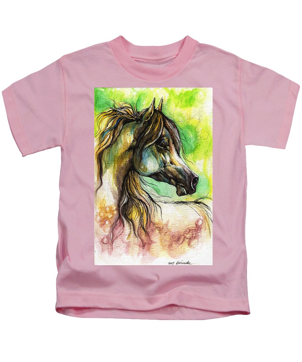 Horse Kids T-Shirt featuring the painting The Rainbow Colored Arabian Horse by Angel Ciesniarska