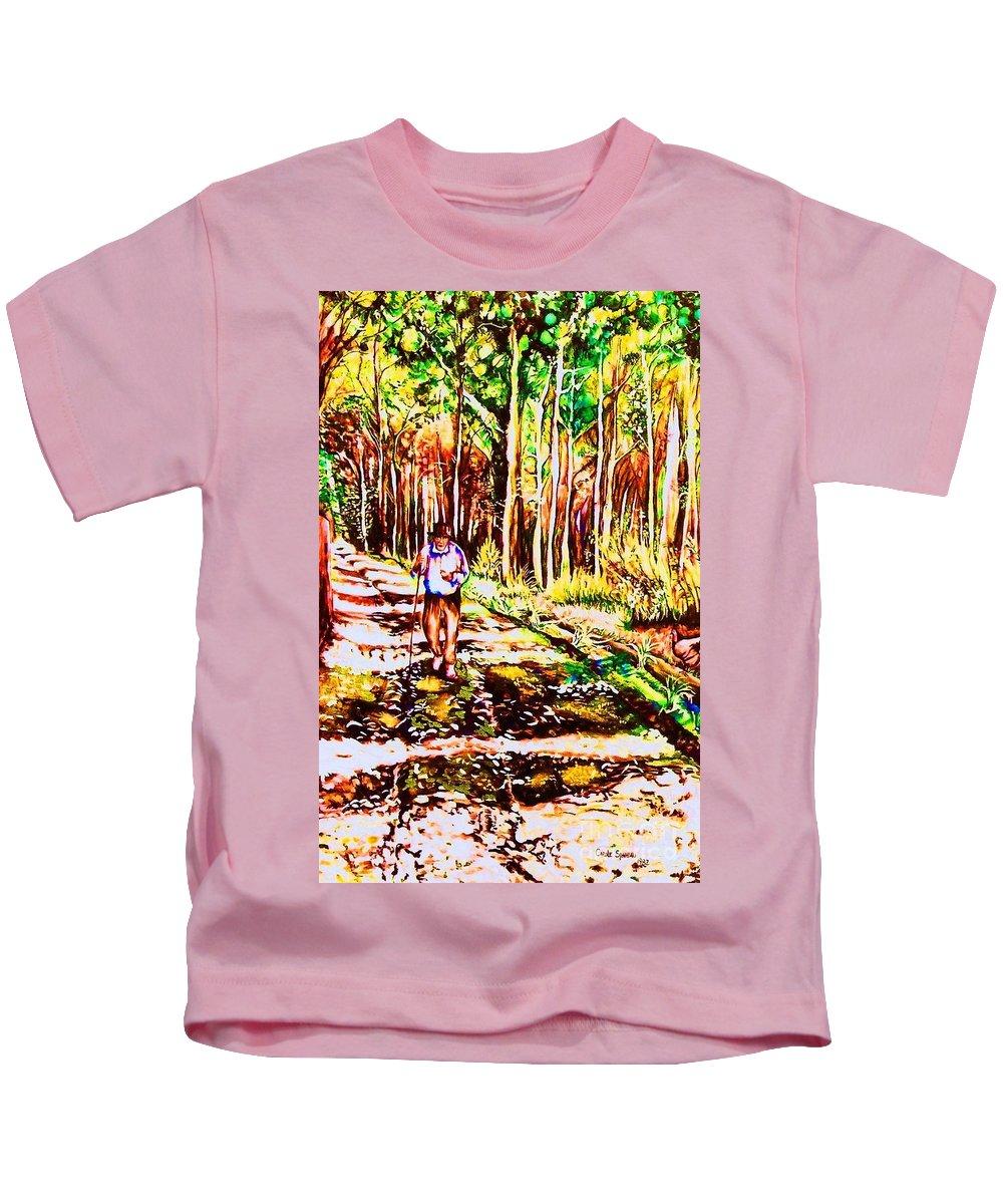 The Road Not Taken Robert Frost Poem Kids T-Shirt featuring the painting The Road Not Taken by Carole Spandau