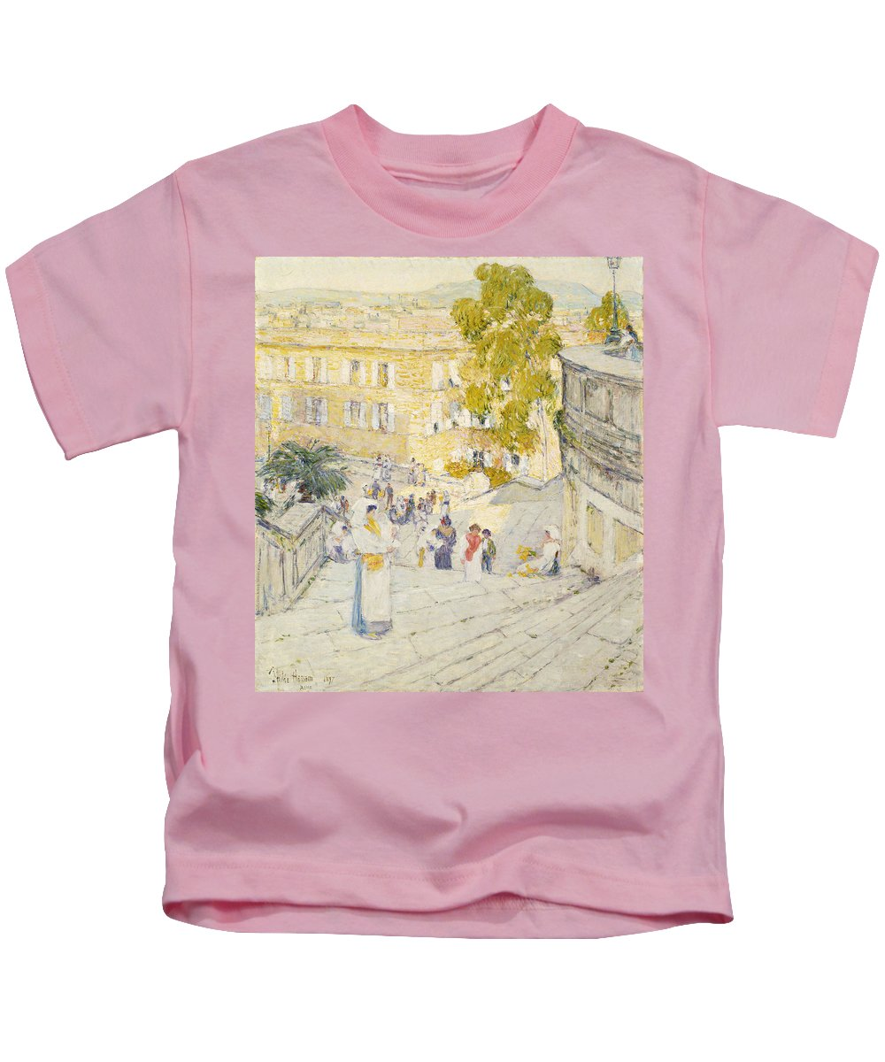 Childe Hassam Kids T-Shirt featuring the painting The Spanish Steps Of Rome by Childe Hassam