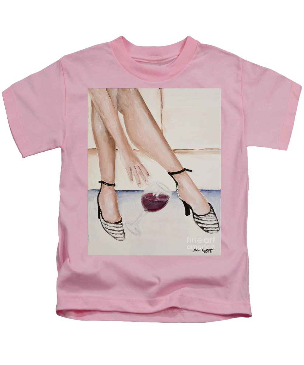 Red Wine Kids T-Shirt featuring the painting The Spill by Boni Arendt