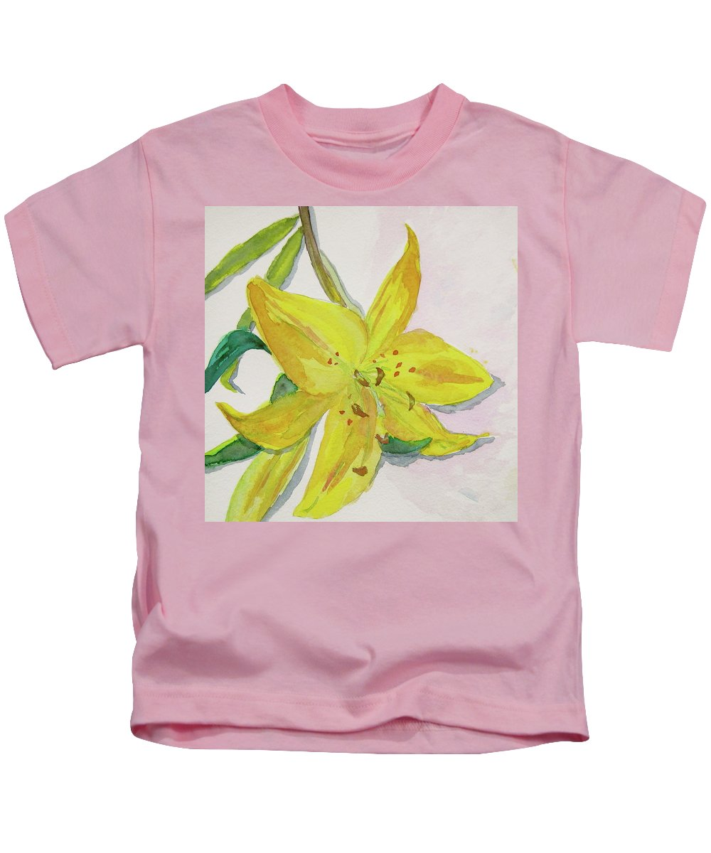 Lily Kids T-Shirt featuring the painting The Trickiness Of Yellow by Beverley Harper Tinsley