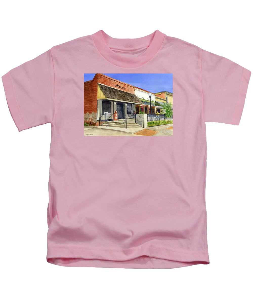 Downtown Kids T-Shirt featuring the painting The Village by Hailey E Herrera