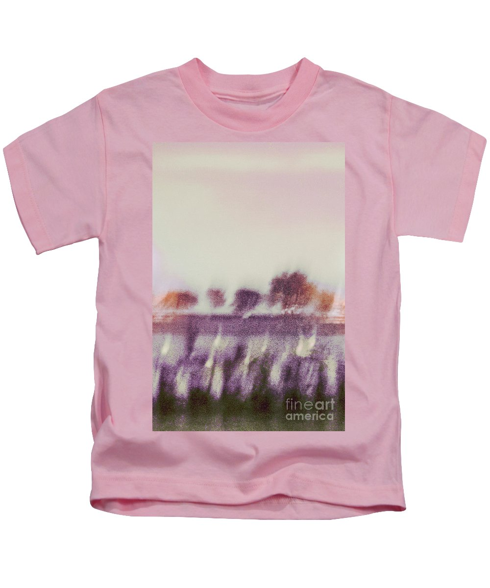 Abstract; Blur; Blurry; Blurred; Trees; Grass; River; Water; Reflection; Sky; Lights; Sunset; Sunrise; Nature; Outside; Outdoors; Rural; Landscape; Pink; Purple; Green; Orange; Yellow Kids T-Shirt featuring the photograph Trees Across The River by Margie Hurwich