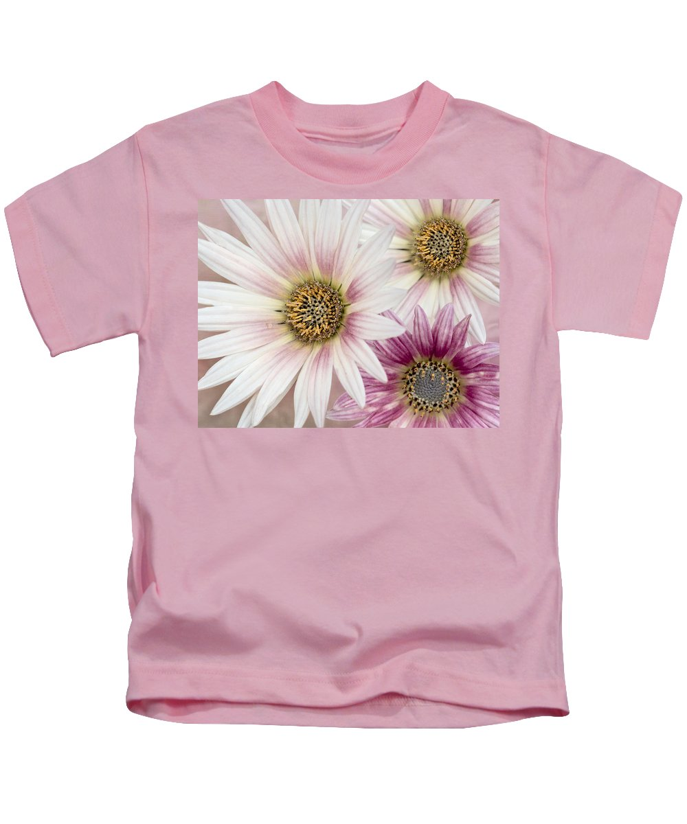 Gerbera Kids T-Shirt featuring the photograph Tres Margaritas by Susan Candelario