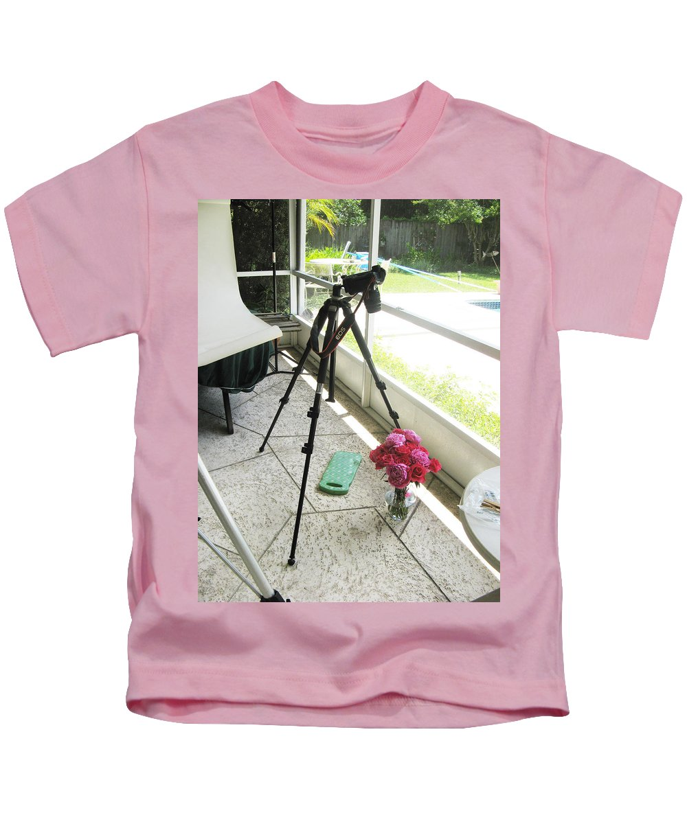 Roses Kids T-Shirt featuring the photograph Tripod And Roses On Floor by Rich Franco