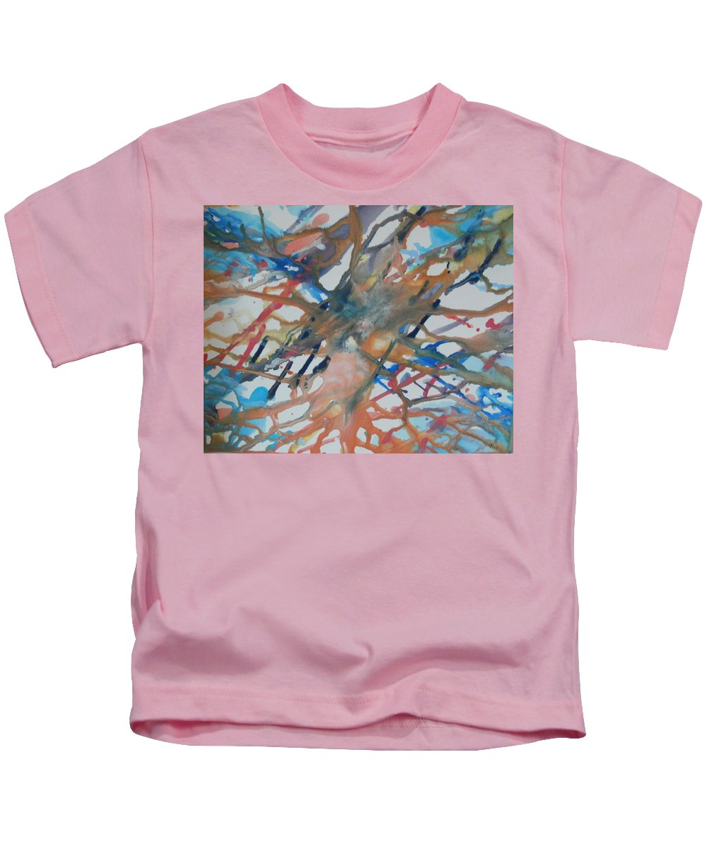 Tube Kids T-Shirt featuring the painting Tube by Thomasina Durkay