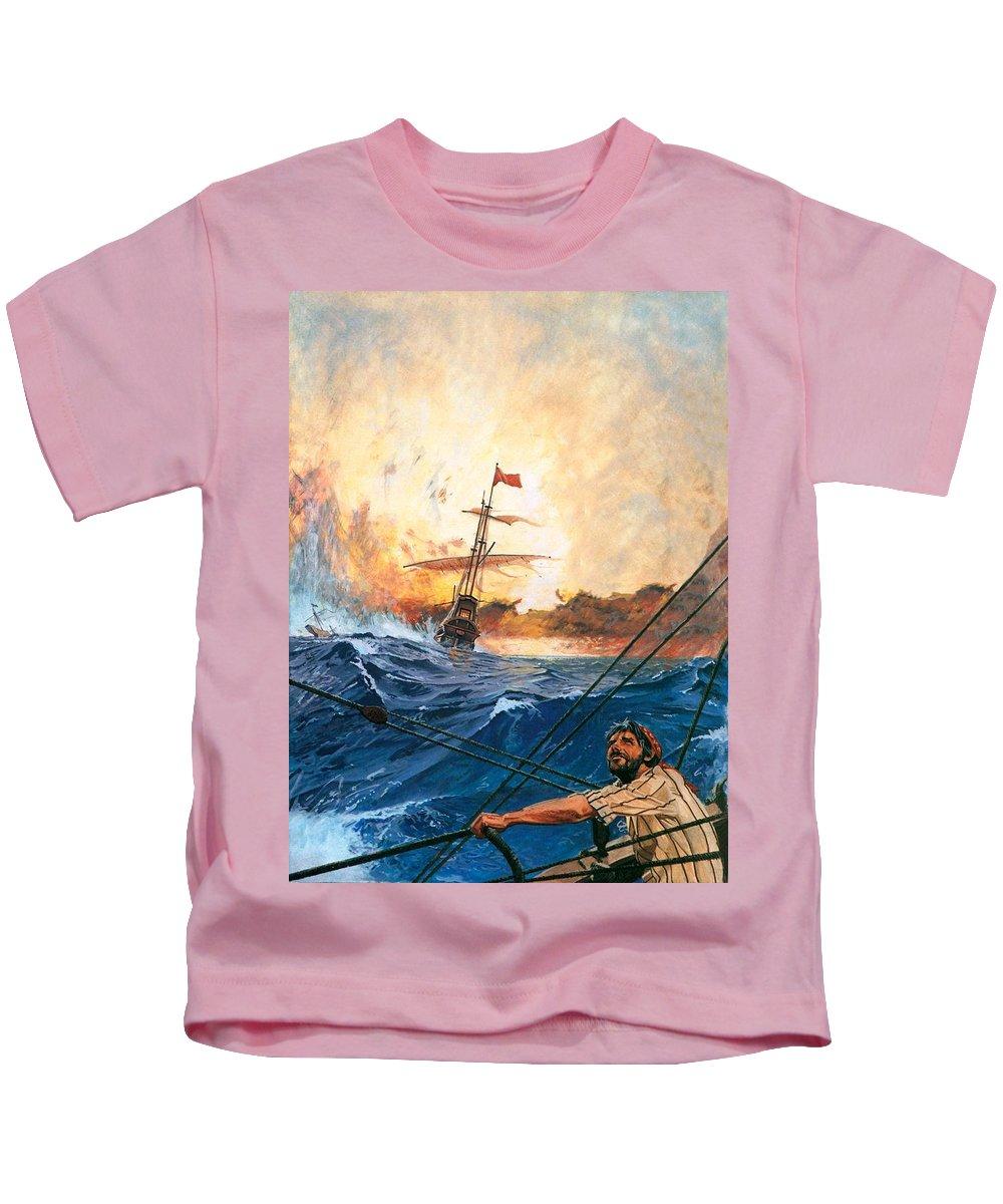 Vasco Kids T-Shirt featuring the painting Vasco Da Gama's Ships Rounding The Cape by English School