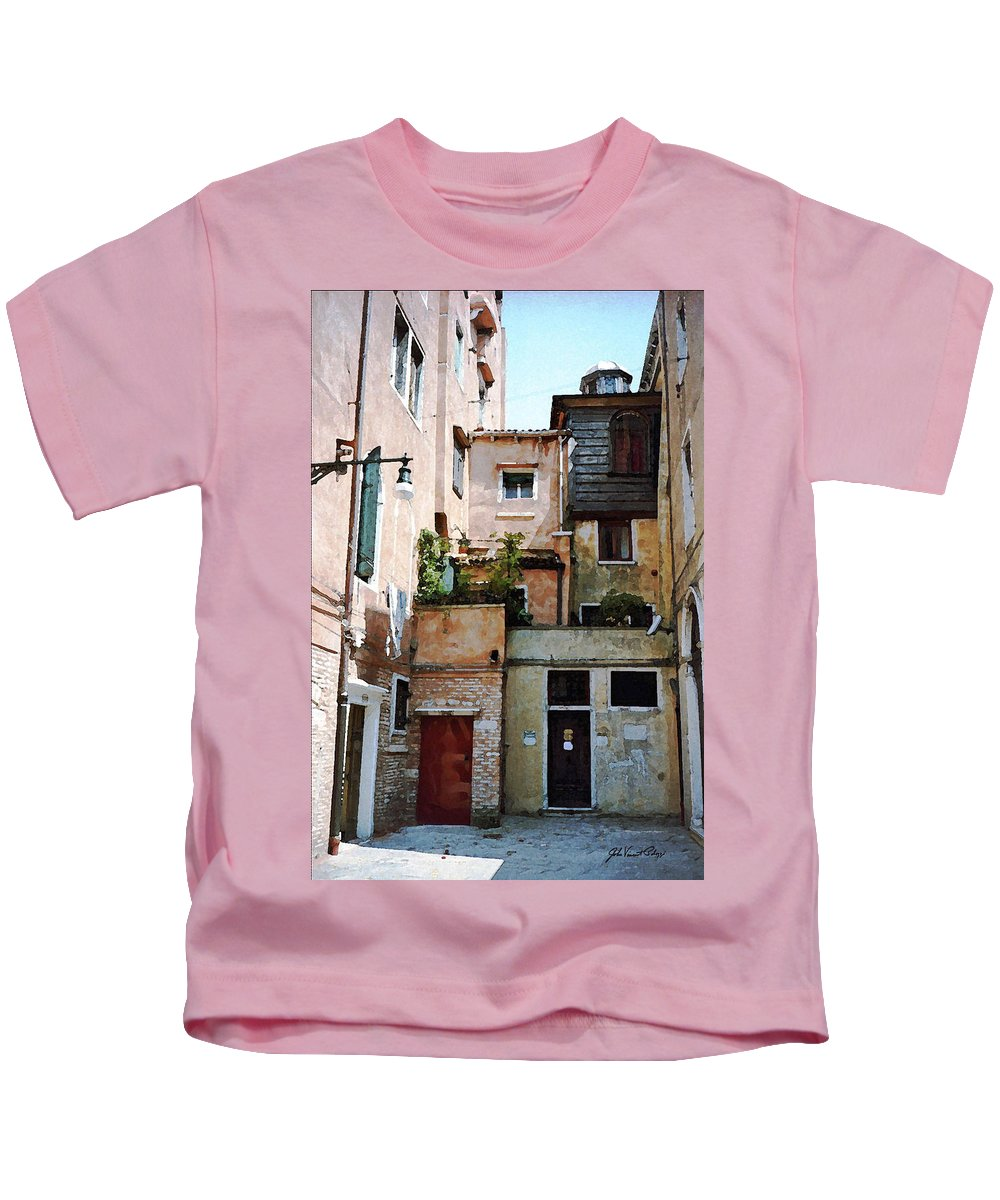 Jewish Temple Kids T-Shirt featuring the digital art Venice Temple by John Vincent Palozzi