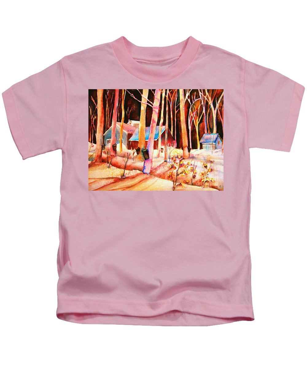 Montreal Kids T-Shirt featuring the painting Vermont Maple Syrup by Carole Spandau