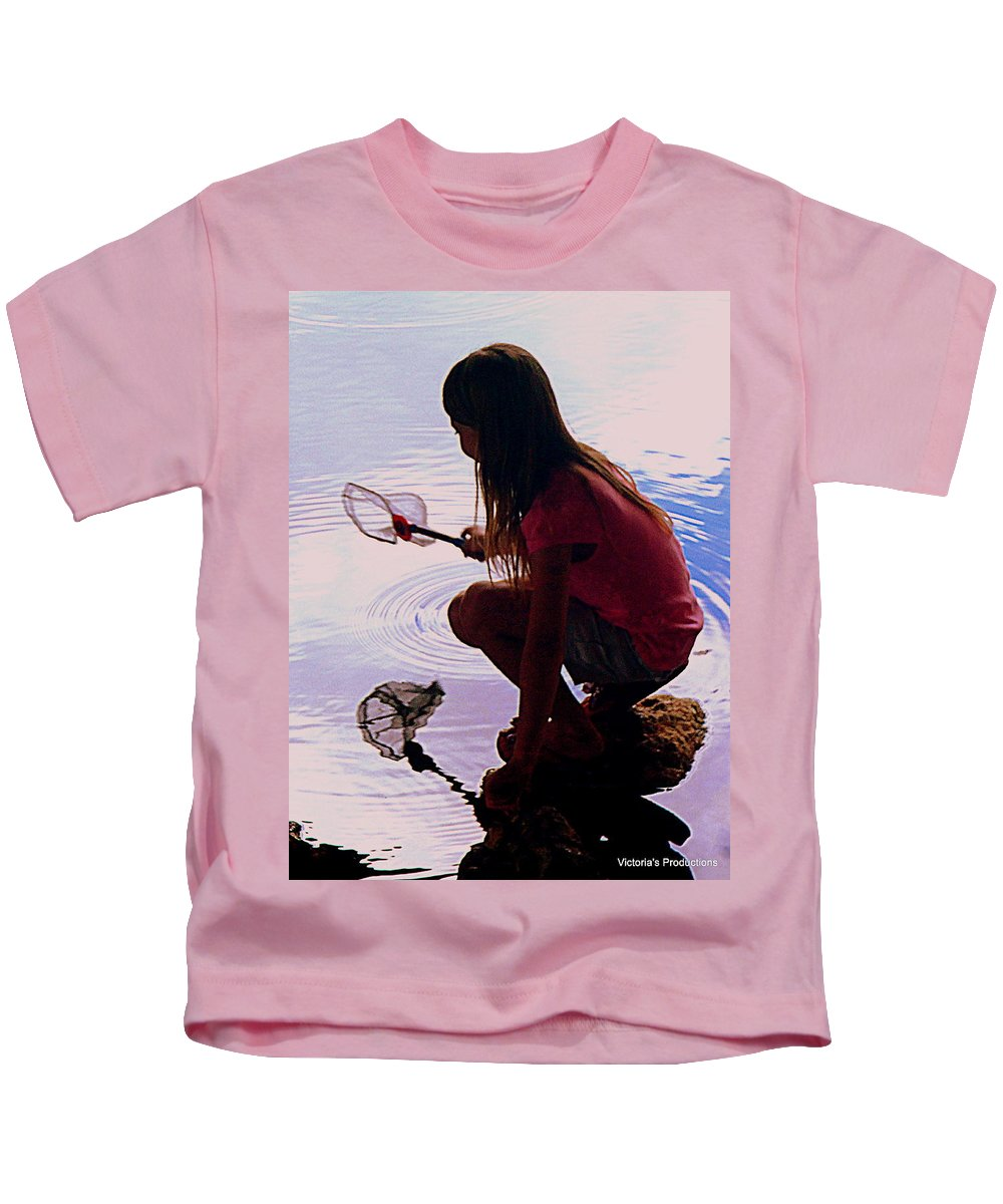 Fish Kids T-Shirt featuring the photograph Waiting For A Fishy by Victoria Beasley