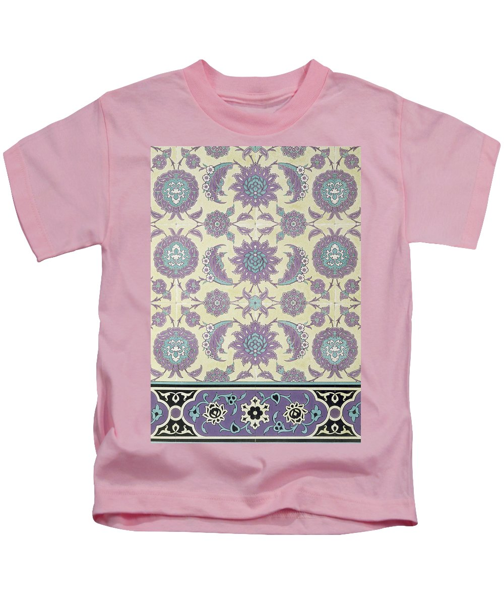 16th; Faience; Tile; Pattern; Border; Egyptian; Islamic; Arabic; Ismail Bay; Arabesque; Arabesques; Foliate; North African Kids T-Shirt featuring the drawing Wall Tiles From The Palace Of Ismayl Bey From Arab Art As Seen Through The Monuments Of Cairo by Emile Prisse d Avennes