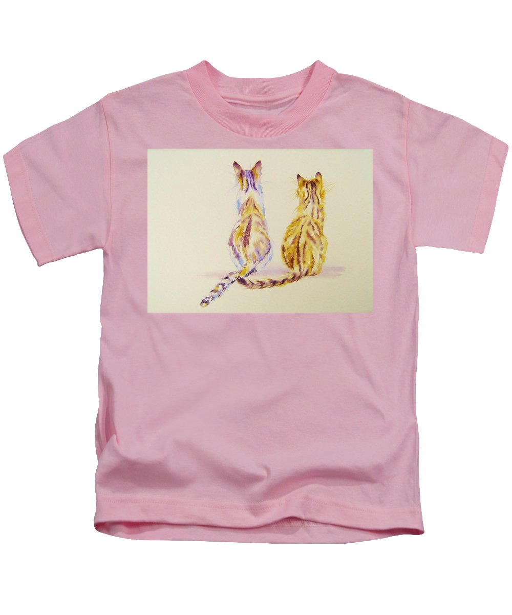 Cats Kids T-Shirt featuring the painting Watching by Debra Hall