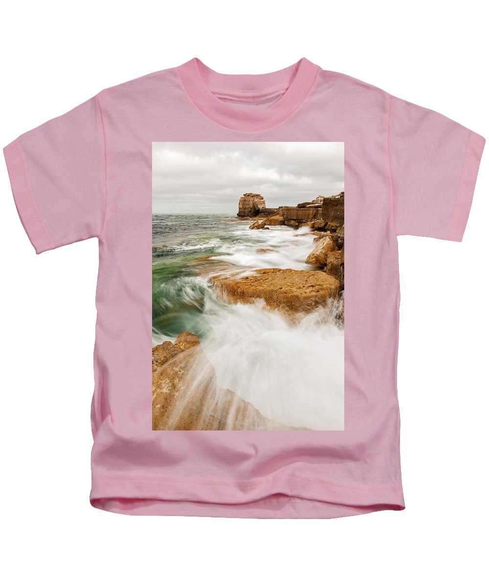 Pulpit Kids T-Shirt featuring the photograph Waves Crashing Over Portland Bill by Ian Middleton