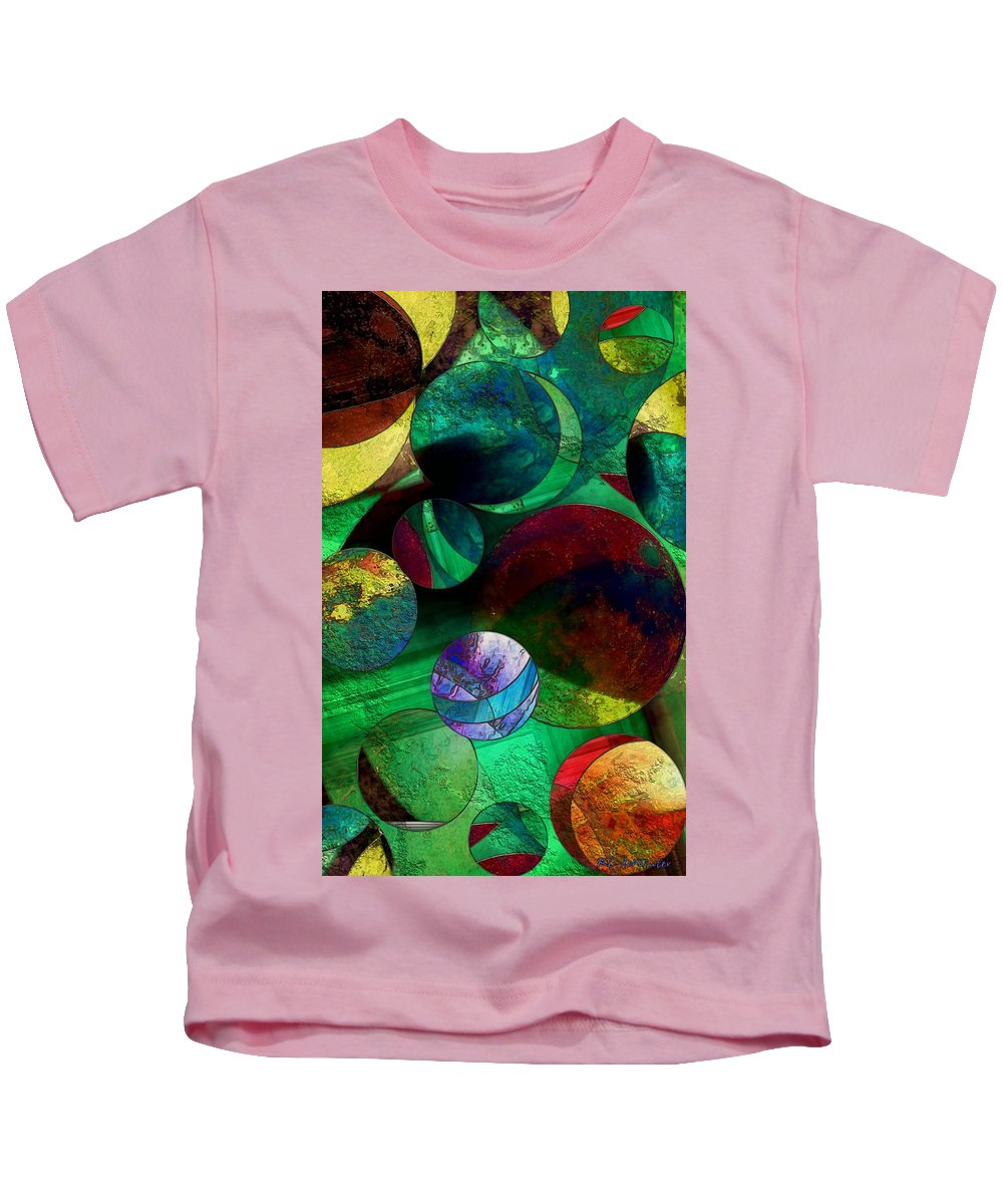 Planets Kids T-Shirt featuring the painting When Worlds Collide by RC DeWinter