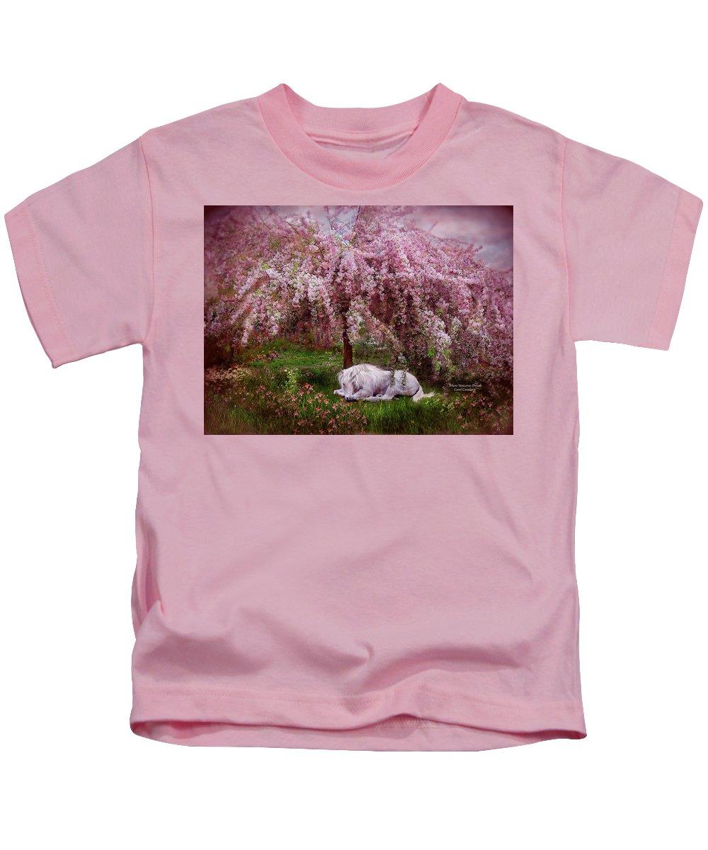 Unicorn Kids T-Shirt featuring the mixed media Where Unicorn's Dream by Carol Cavalaris