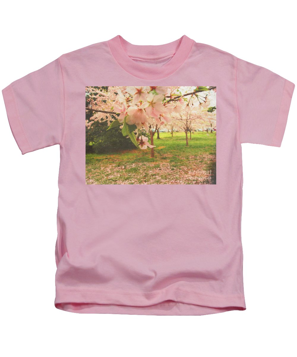 Digital Art Kids T-Shirt featuring the photograph Whispering Cherry Blossoms by Alys Caviness-Gober