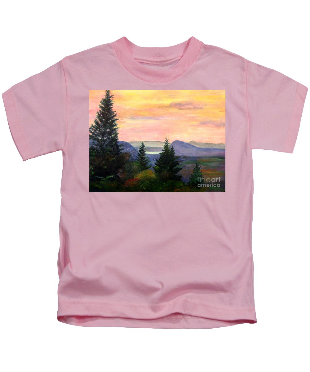 Clouds Kids T-Shirt featuring the painting Willoughby Gap From Burke Mountain by Donna Walsh